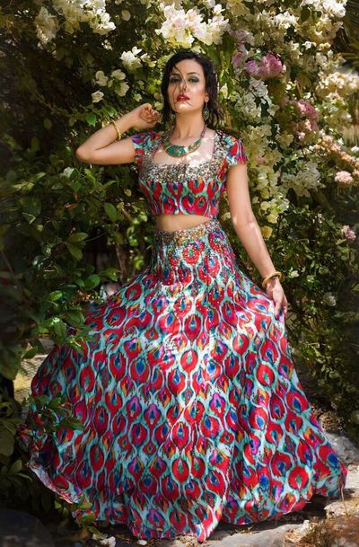 Photo of Quirky printed red and mint lehenga for mehendi