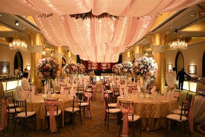 Photo of Pastel Pink Themed Decor with Fairy Lights and Canopy