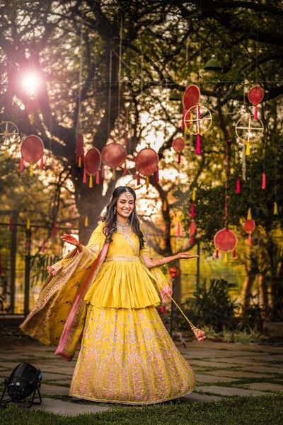 Photo of Yellow peplum lehenga for mehendi