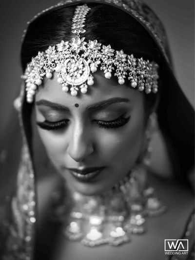 Photo of Bold bridal mathapatti black and white portrait