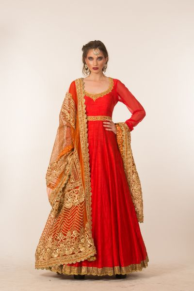 Photo of red georgette anarkali