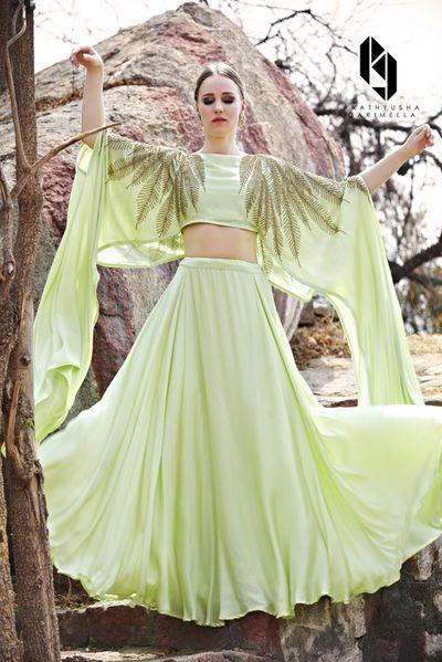 Photo of Light green cape lehenga for mehendi