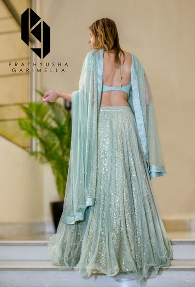 Photo of Light blue lehenga with sequin work for sister of the bride