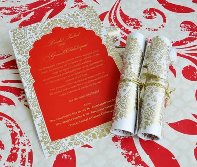 Photo of Red, White and Gold Invitation Cards
