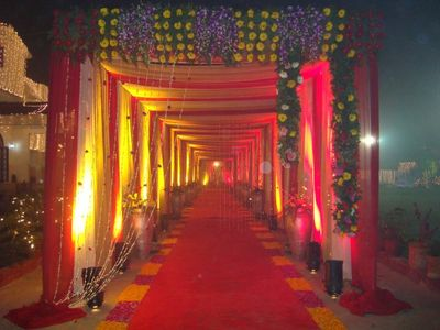Photo of yellow and red entrance decor