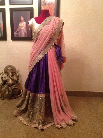 Photo of light pink and purple lehenga