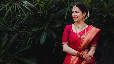 Photo of A south Indian bride in red saree