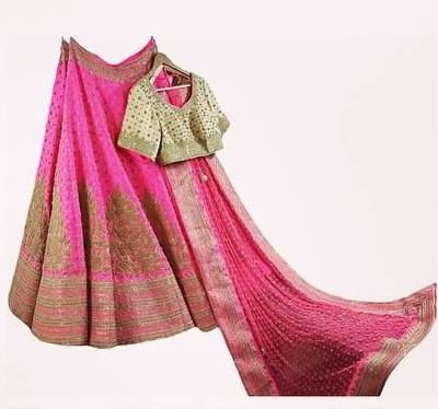 Photo of pink and cream bridal lehenga