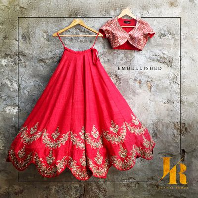 Photo of scalloped edge lehenga