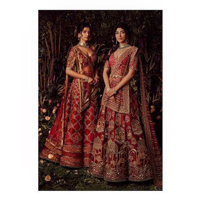 Photo of Unique bridal lehenga in red color