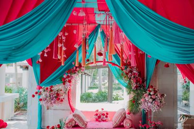 Photo of cute mehendi seating for bride to be