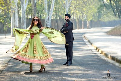 Photo of mint green and gold anarkali