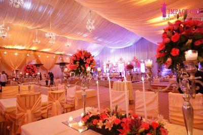Photo of white and pink theme wedding decor