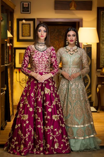 Photo of Pretty purple and light green anarkali for sangeet
