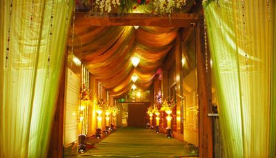 Photo of orange and green drapes