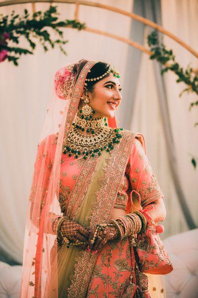 Photo of Bridal lehenga pink and green combination