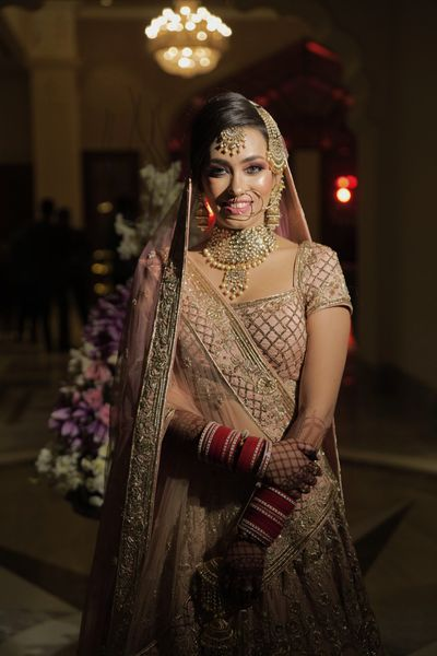 Photo of A stunning bridal portrait with bride in subtle makeup