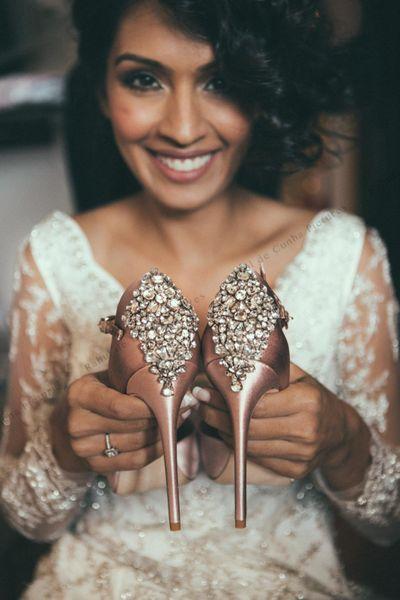 Photo of Rose gold embellished bridal heels