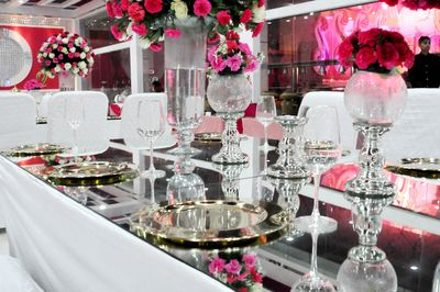Photo of mirrored table tops