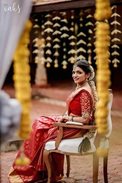 Photo of Bride in a red kanjeevaram saree