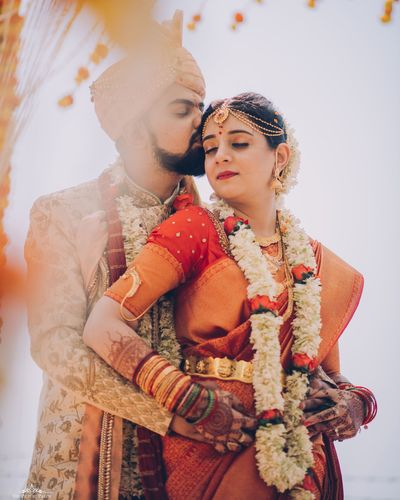 Photo of South indian couple romantic portrait