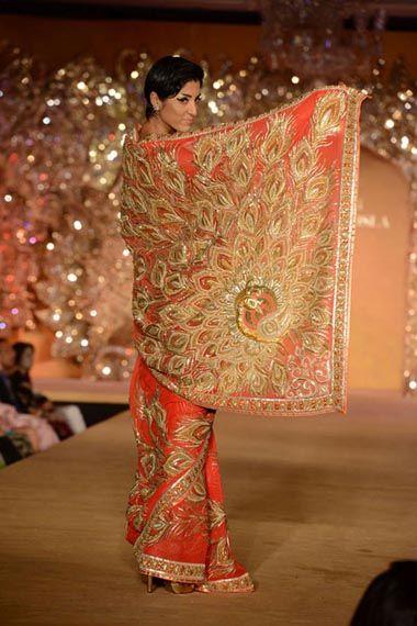 Photo of orange and gold saree