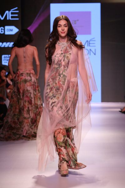 Photo of Draped floral print outfit by Anushree Reddy