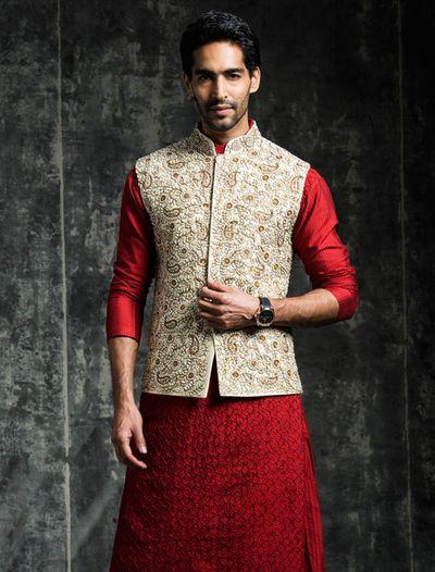 Photo of red silk kurta