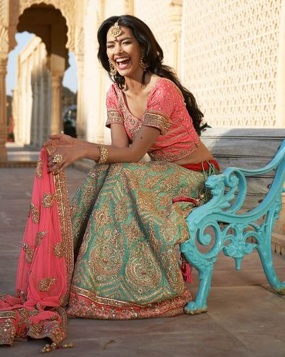Photo of pastel pink and green lehenga