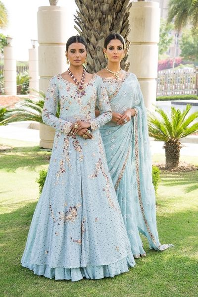 Photo of Engagement lehenga and saree in light blue