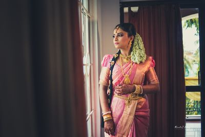 Photo of kanjeevaram silk saree on a south Indian bride