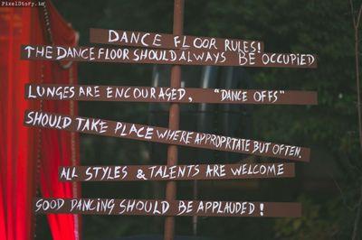 Photo of Dance floor rule board