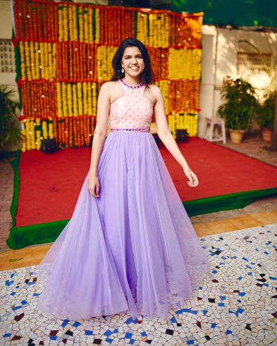 Photo of Lavender and baby pink anarkali with tulle drape