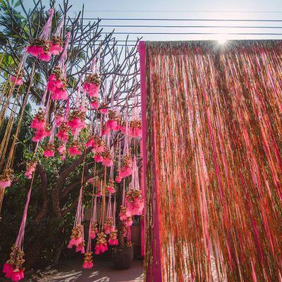 Bright Pink Wedding Decor Photo