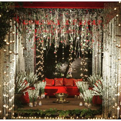 Photo of red and white engagement decor