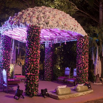 Photo of floral dome mandap