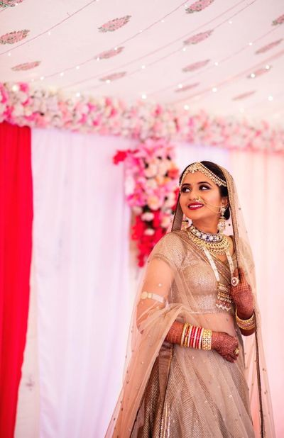 Photo of Monotone bridal lehenga and look in beige