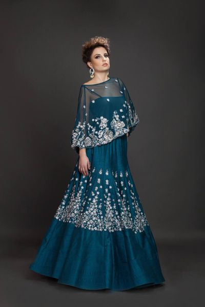 Photo of peacock blue gown