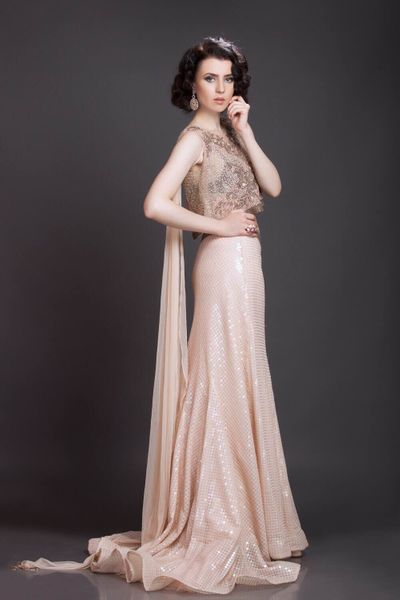 Photo of cream gold shimmer gown