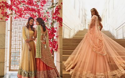 Photo of Pastel peach lehenga with train