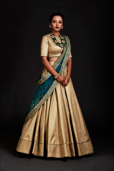 Gold Outfits Photo gold silk lehenga