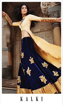 Photo of blue and gold velvet lehenga with cutout jacket