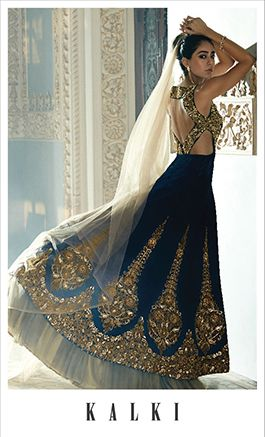 Photo of navy blue lehenga