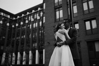 Photo of black and white couple pre wedding shoot photography