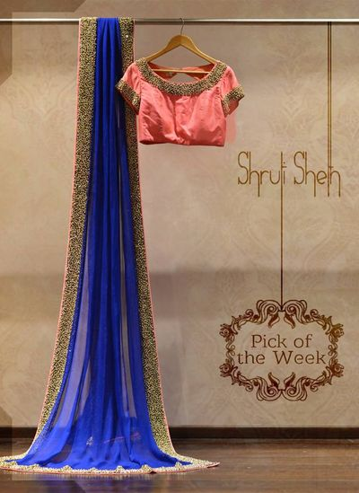 Photo of blue saree with pnk blouse