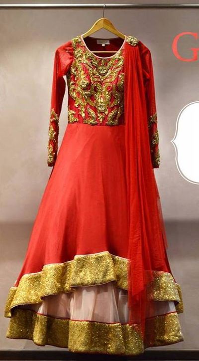 Photo of red layered anarkali lehenga
