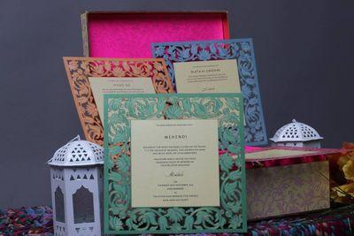 Photo of laser cut wedding cards