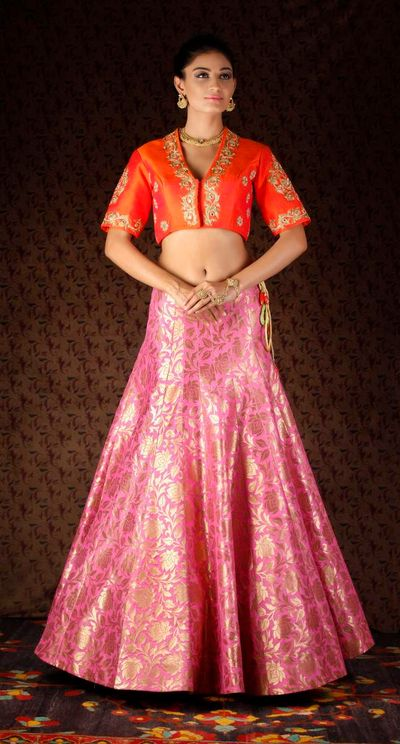 Photo of pink banarsi lehenga skirt