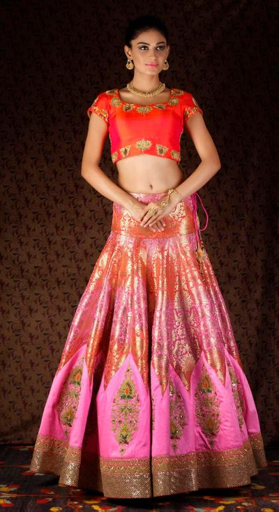 Photo of pink shaded banarsi lehenga