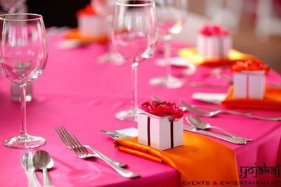 Photo of orange and pink table cloth